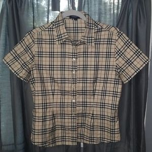 Burberry London Tapered Button-Up Nova Check Top